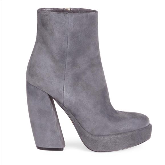 9f6e8f7aa223 New Prada Suede Banana Heel Ankle Booties
